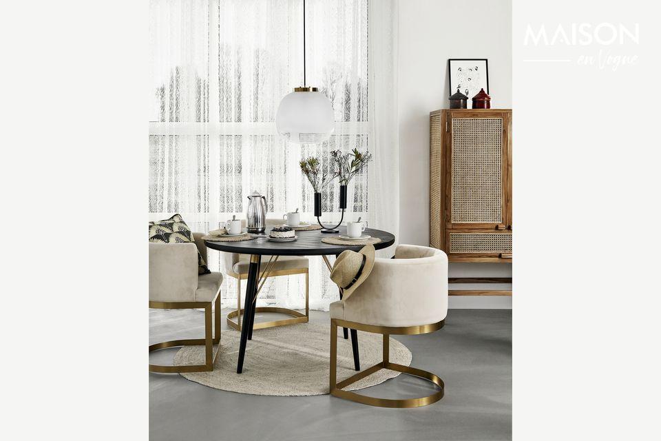 Table à manger ronde en bois Pulligny noire et or Nordal