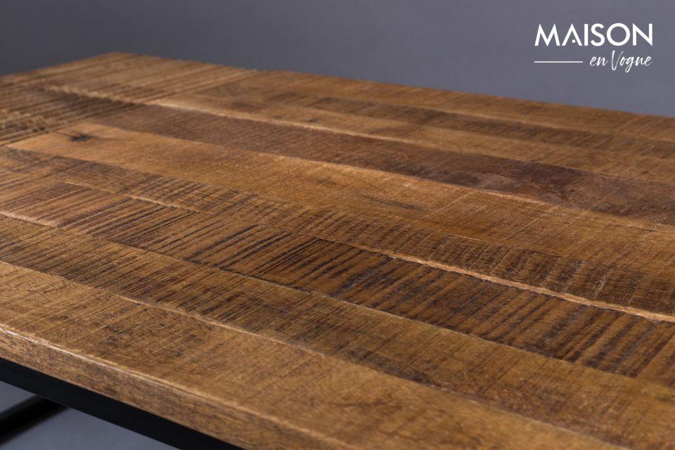 Le plateau est en bois de manguier marron foncé pour le côté vintage