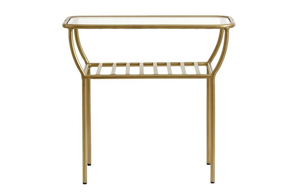 Cette jolie petite table est en fer laqué or et en verre