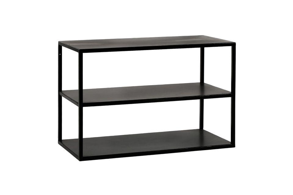 Pomax présente une table métallique laquée en noir à trois plateaux