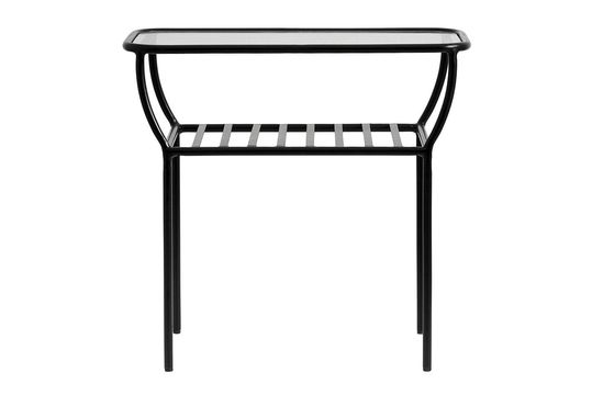 Table d'appoint noire Chic en fer et verre