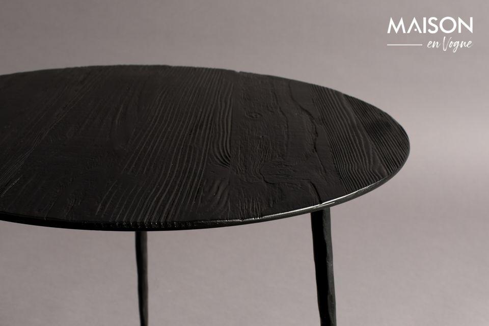 Vous apprécierez son plateau circulaire en acier laqué recouvert d\'un fin plaquage en pin