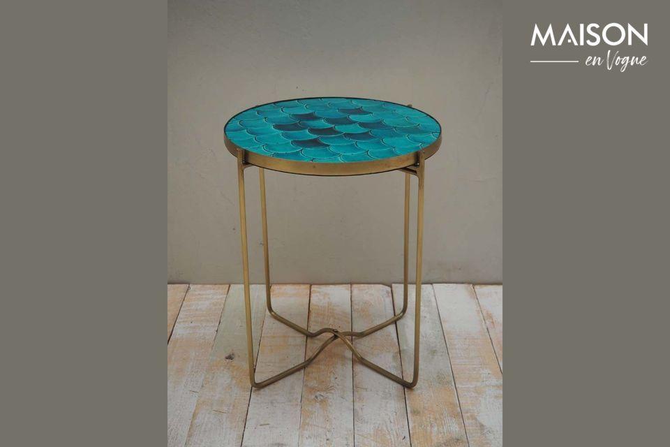 Table d'appoint Séguret écailles bleues en céramique