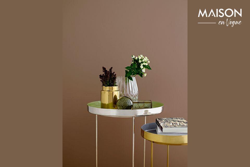 Table basse en aluminium vert et argent