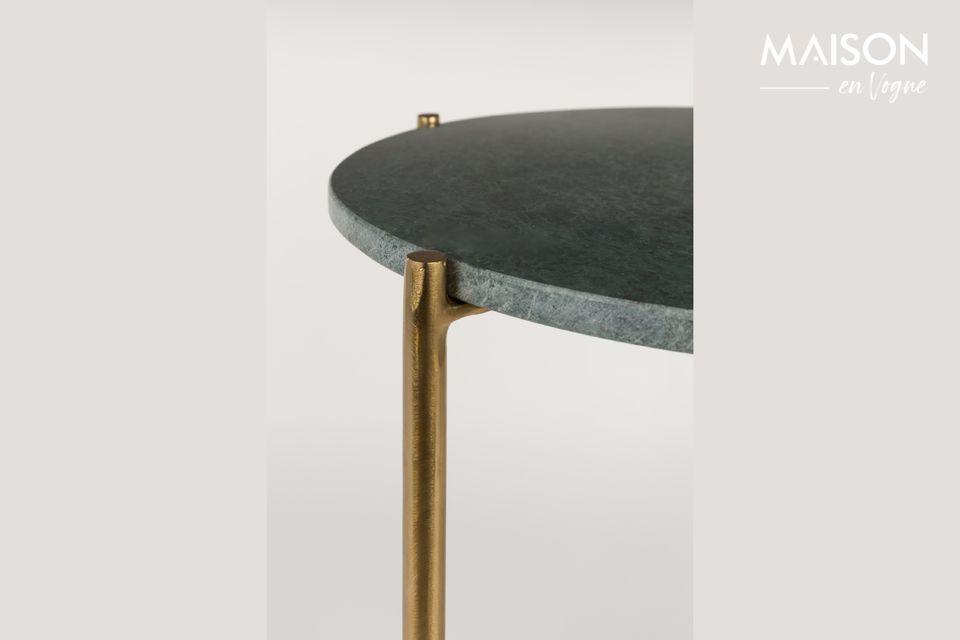 La table d\'appoint Timpa marbre vert est un petit meuble raffiné avec son plateau en marbre