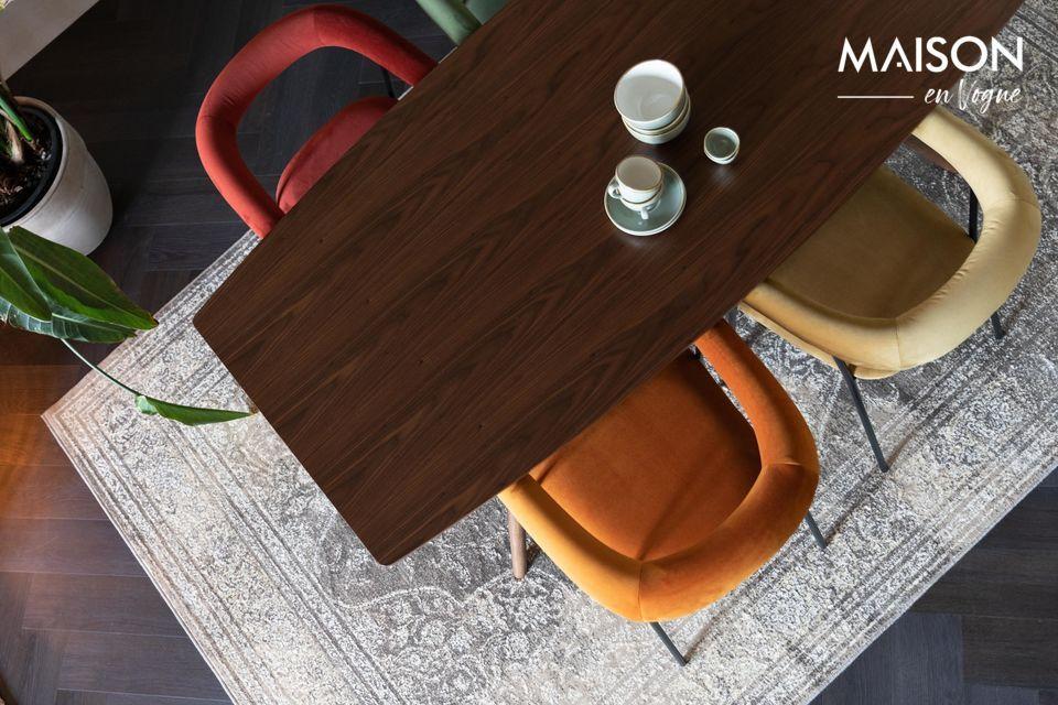 Table de repas rectangulaire en bois marron