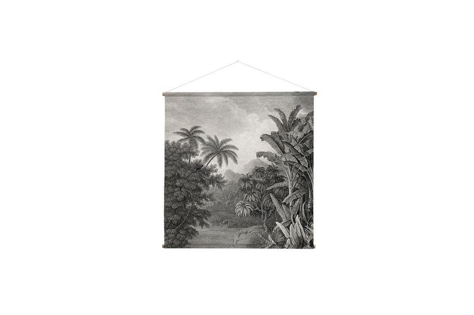 Carré, imprimé sur un coton épais et tendu sur un cadre en bois solide, il fait 145 cm de côté