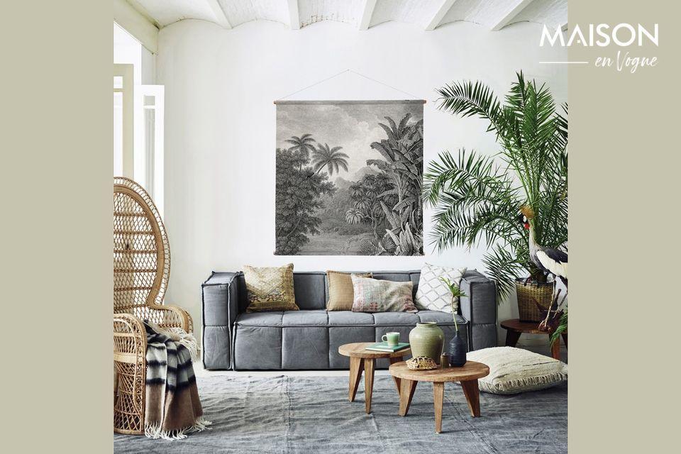 Le tableau mural Jungle orne vos murs d\'un somptueux camaïeu de gris