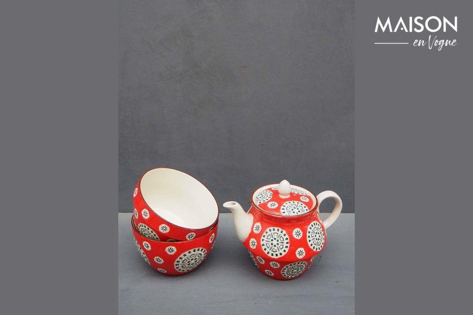 Pour déguster une tasse de thé en admirant un motif folk