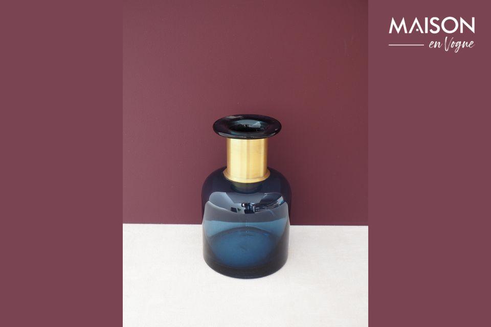 Vase bouteille Pharmacie bleue à col doré Chehoma